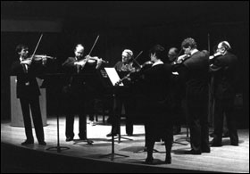 Walter Trampler (3rd from left) plays Jacob抯 Suite for Eight Violas during a memorial tribute to Paul Doktor.